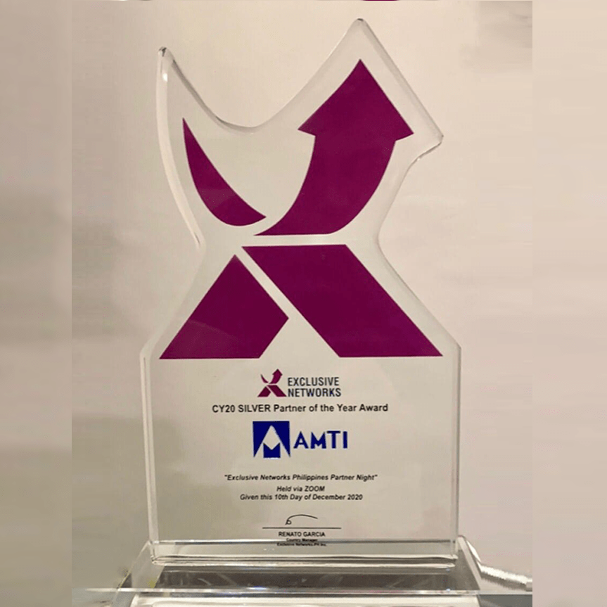 AMTI received the CY20 Silver Partner of the Year Award from Exclusive Networks